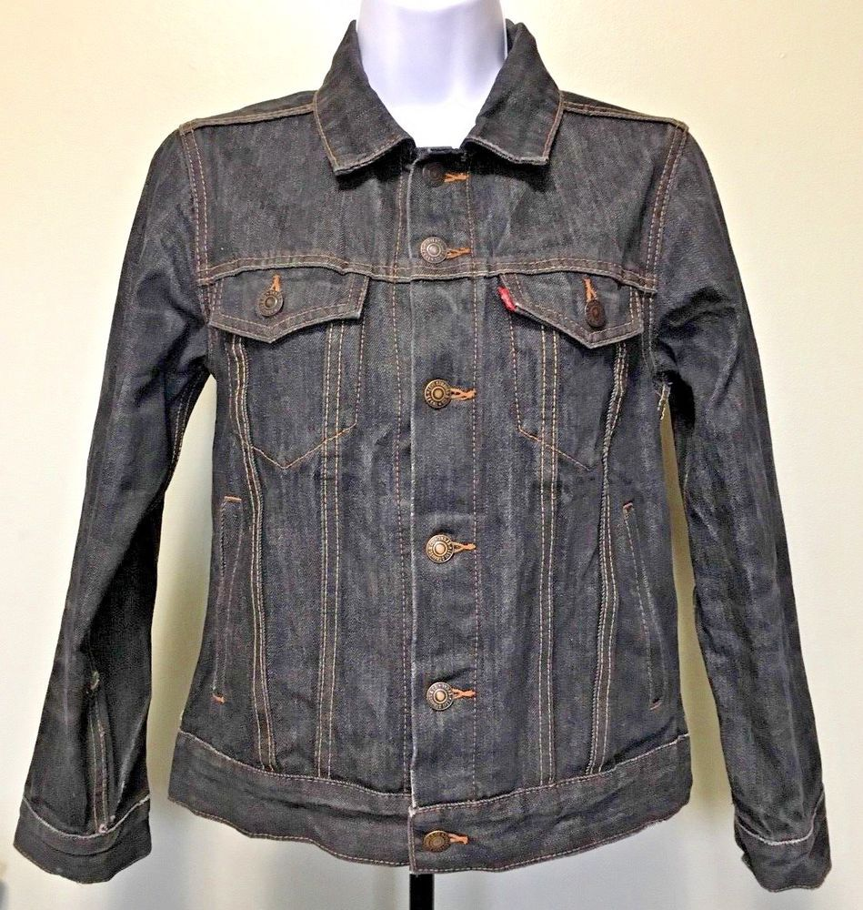 Levi Strauss Kids Original Classic Black Denim Jean Jacket Button Front M 10 12 Levis Jeanjacket Everyda Jacket Buttons Black Denim Jeans Denim Jean Jacket [ 1000 x 949 Pixel ]