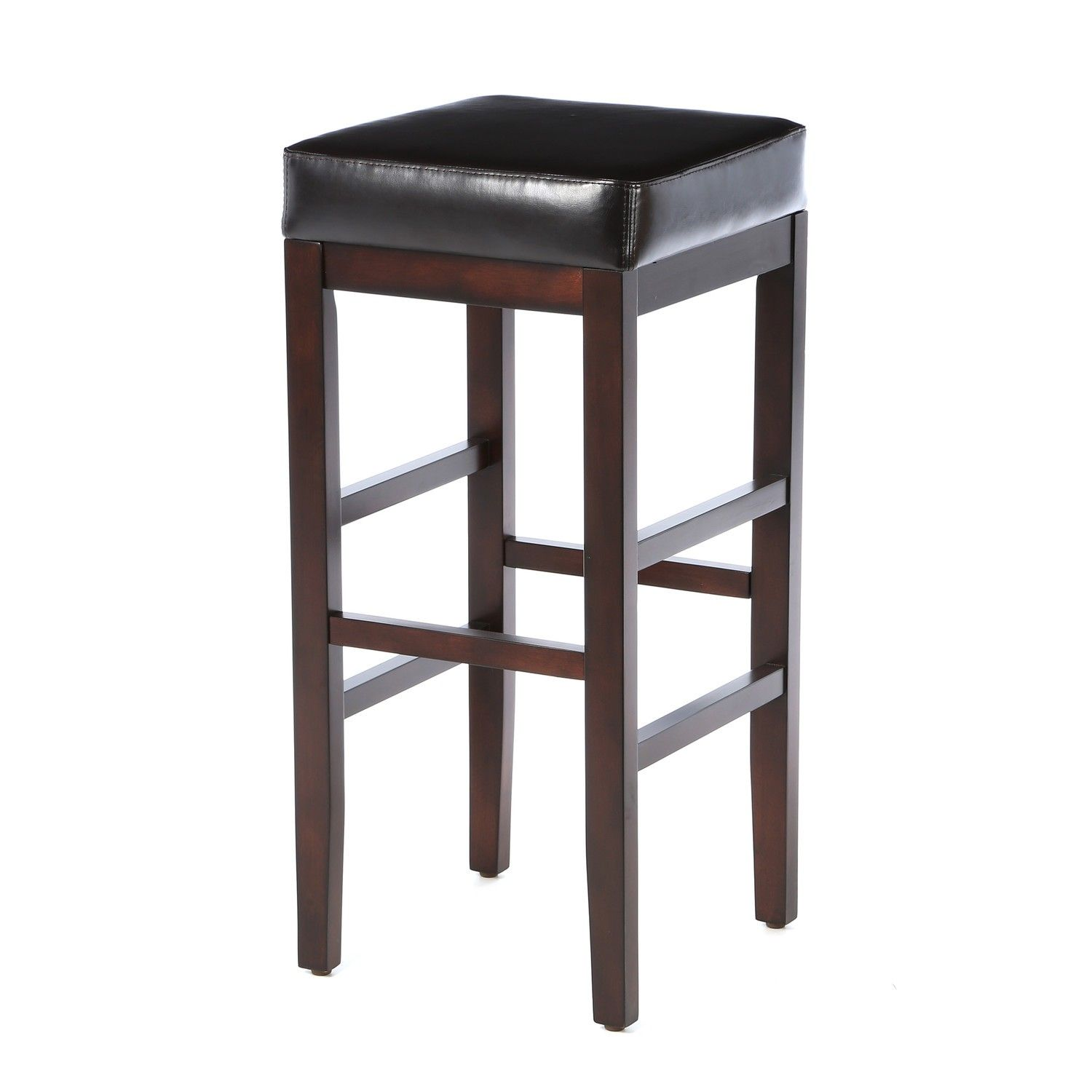 Furniture Square Black Leather Padded Seated Bar Stool