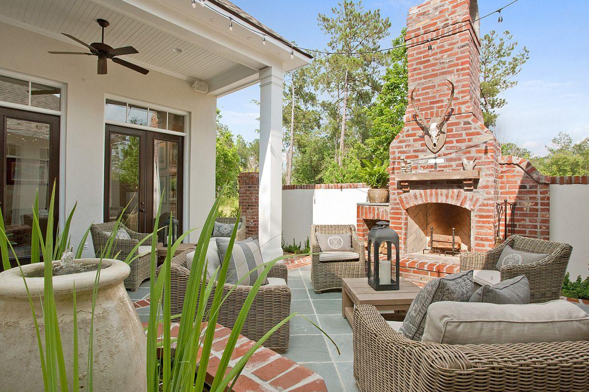Outdoor fireplace and courtyard o u t d o o r s