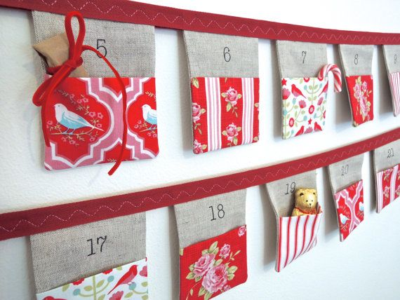 Advent calendar bunting 24 linen flags with beautiful tilda christmas house fabric pockets eco friendly made