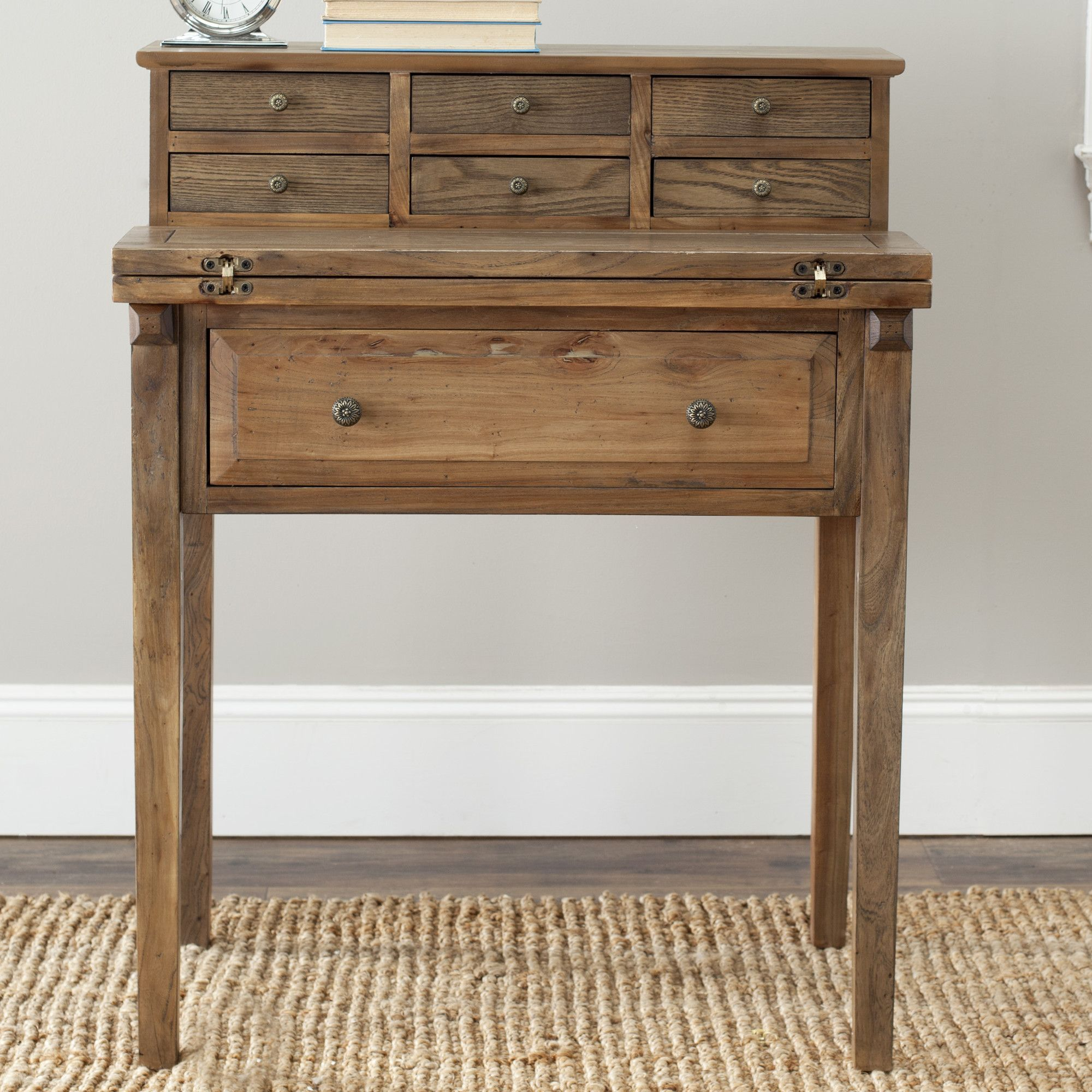 Features crafted of pine fold down style made for small spaces 7 drawers the drawers - Secretary desk for small spaces property ...