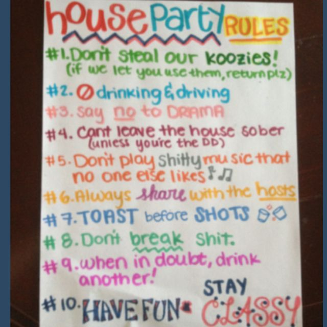 House Party Rules, Party