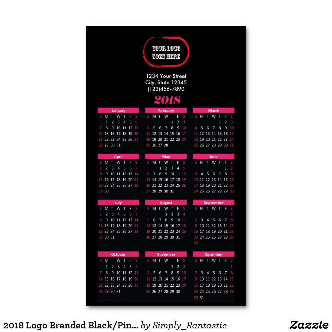2018 Logo Branded Black/Pink Magnetic Calendar Magnetic Business ...
