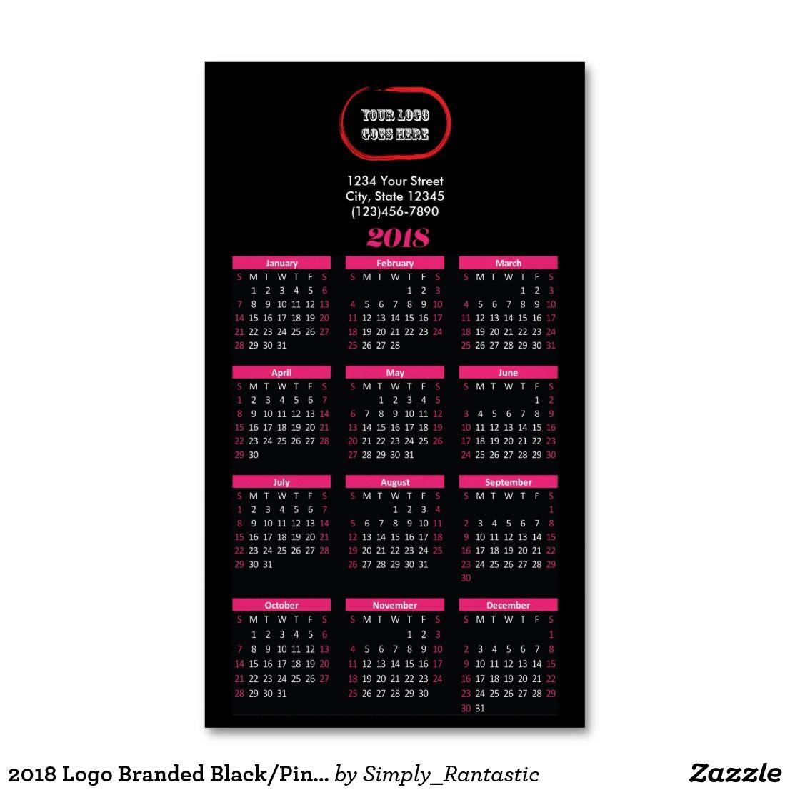 2018 Logo Branded Black/Pink Magnetic Calendar Magnetic Business ...