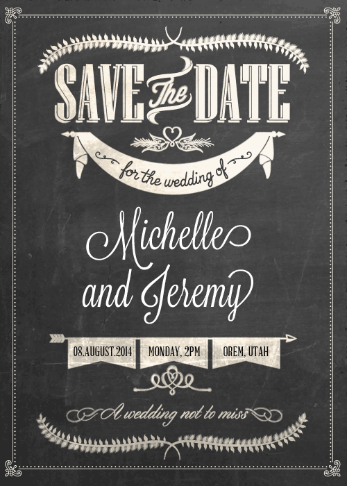 FREE PDF Download. Stylish Chalkboard Save the Date. Easy to edit ...