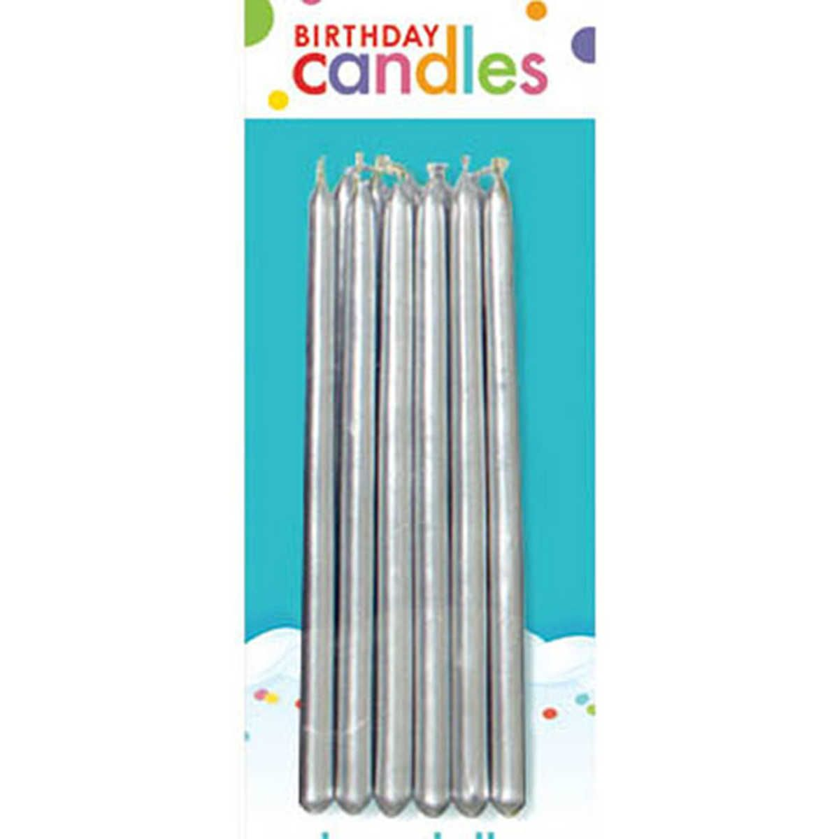Birthday taper candles 12 pack silver with images