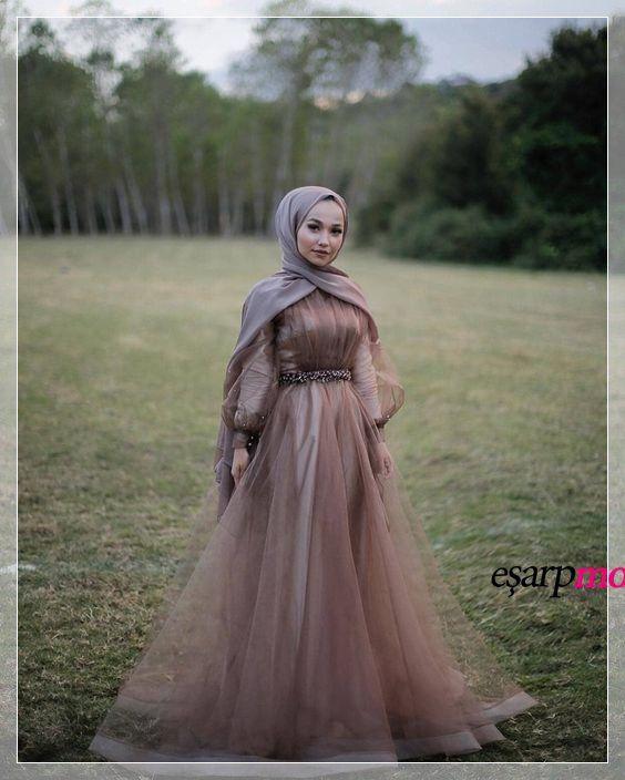 Cok Sade Tesettur Abiye Modeli The Dress Payet Elbise Parti Elbisesi