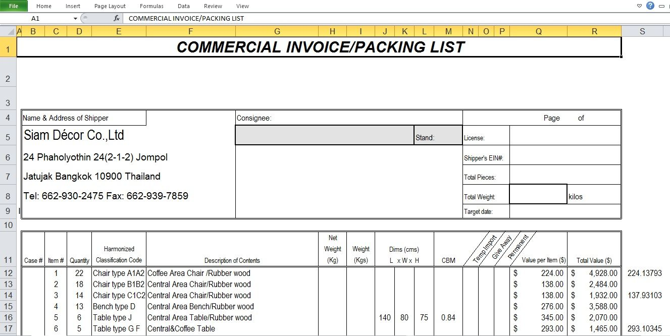Commercial Invoice Sample Excel Template A Commercial Invoice Template Is A Unique Sort Of Receipt Soli Invoice Template Word Invoice Template Invoice Layout