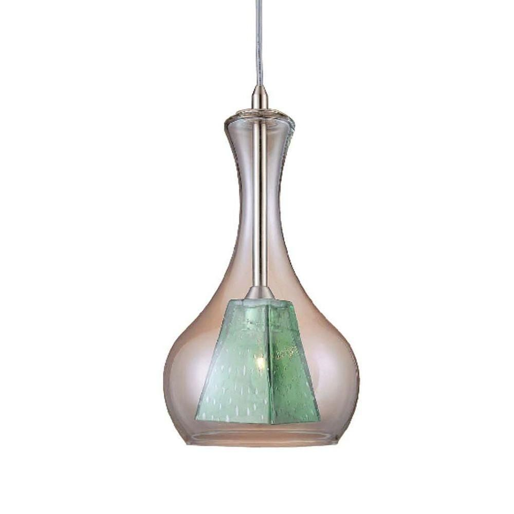 Hampton Bay 1-Light Double pane Pendant green Clear art Glass brushed nickel 6ft