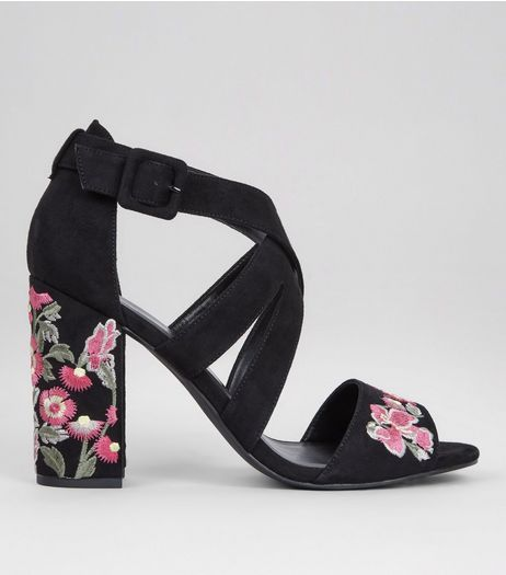 Black Suedette Floral Embroidered Heeled Sandals | New Look