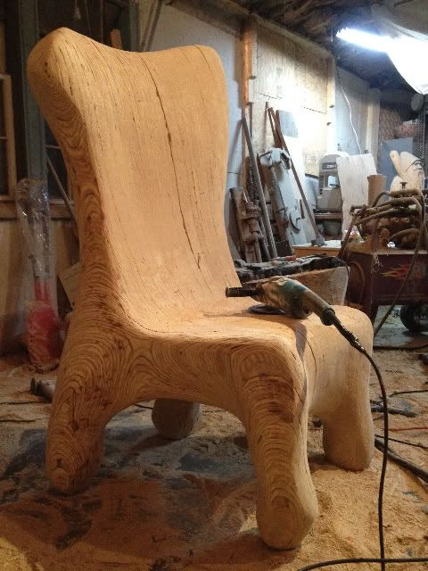 Plywood chair chainsaw wood carving design