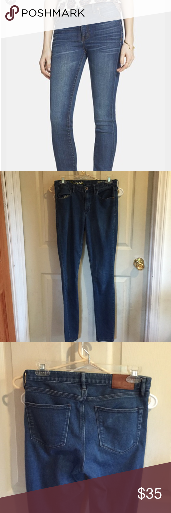"Madewell High Riser Skinny Jeans 26"" x 32"". Cotton/polyester. The cover photo shows the fit, but these are a slightly different wash. Waist is about 15"" flat no dip; rise is about 9""; inseam is about 32""; ankle is about 5"" flat. Gently worn with some light fuzzing. Madewell Jeans Skinny"