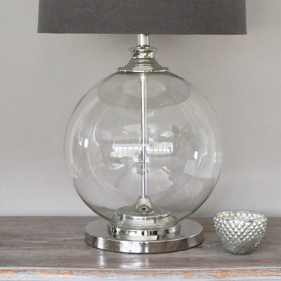 Glass Ball Table Lamp Homepage Primrose Plum Glass Ball Table Lamp And Grey  Shade U2013 Tables Furnitures