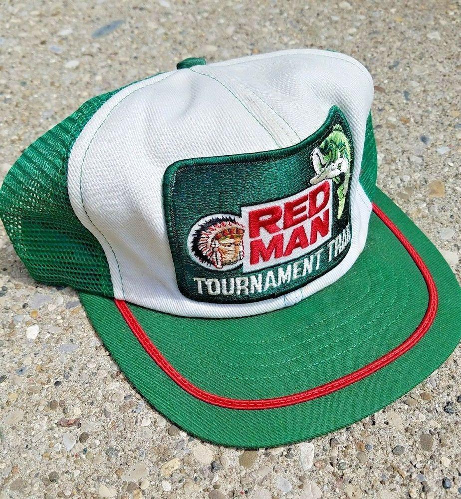 5c06203e7e0 Vtg USA Made Swingster  Redman Hat Tournament Trail Fishing Trucker  Snapback Cap  Swingster  Trucker