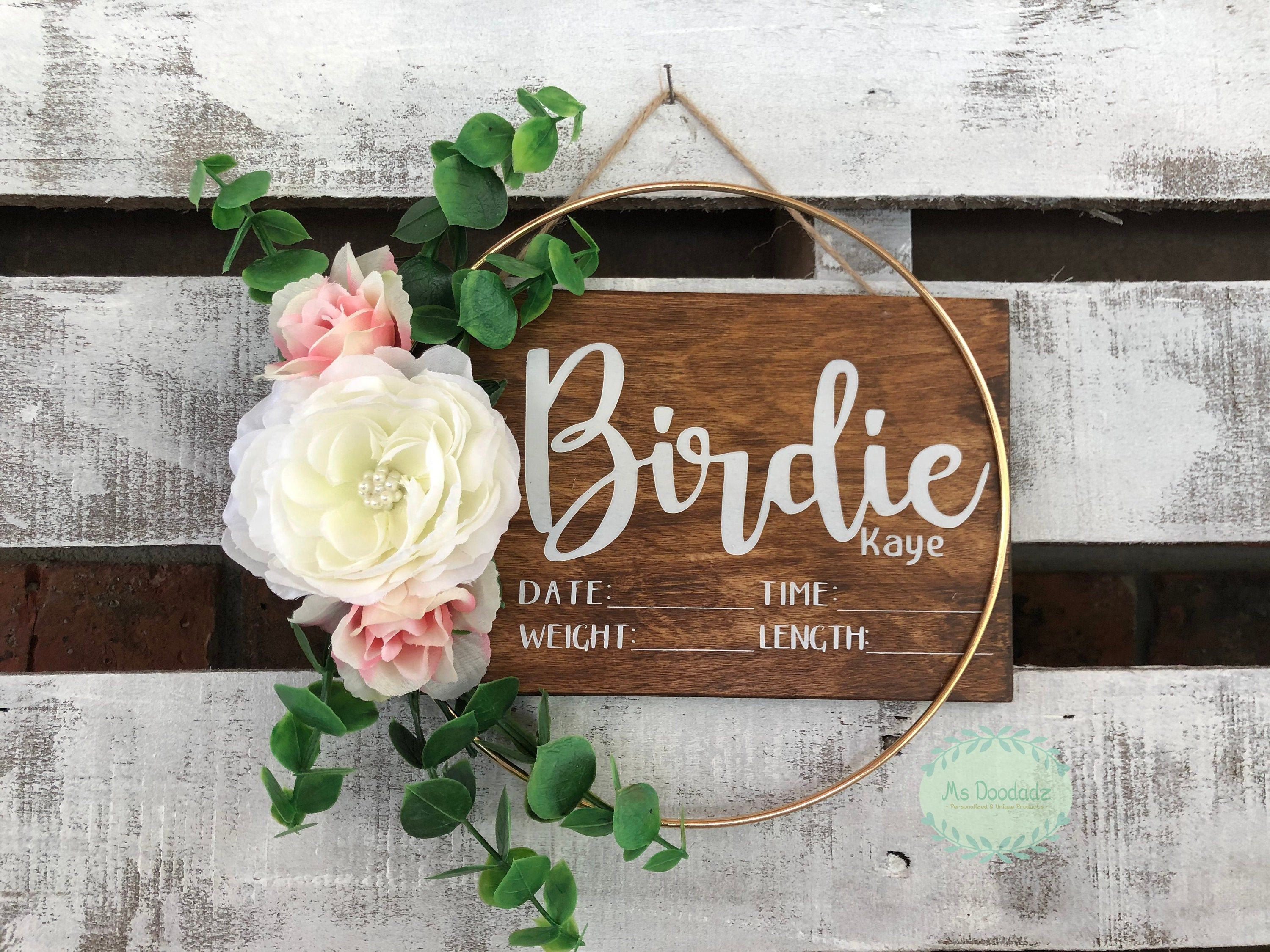 Birth Stat Floral Hoop Hospital Sign, Baby Stat Sign, Baby