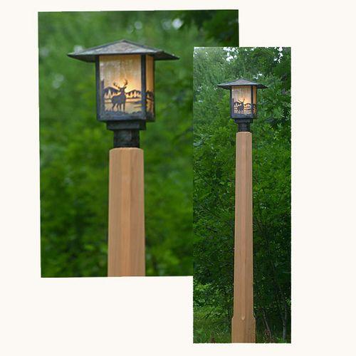 Attractive Rustic Outdoor Lighting With Cedar Lamp Post