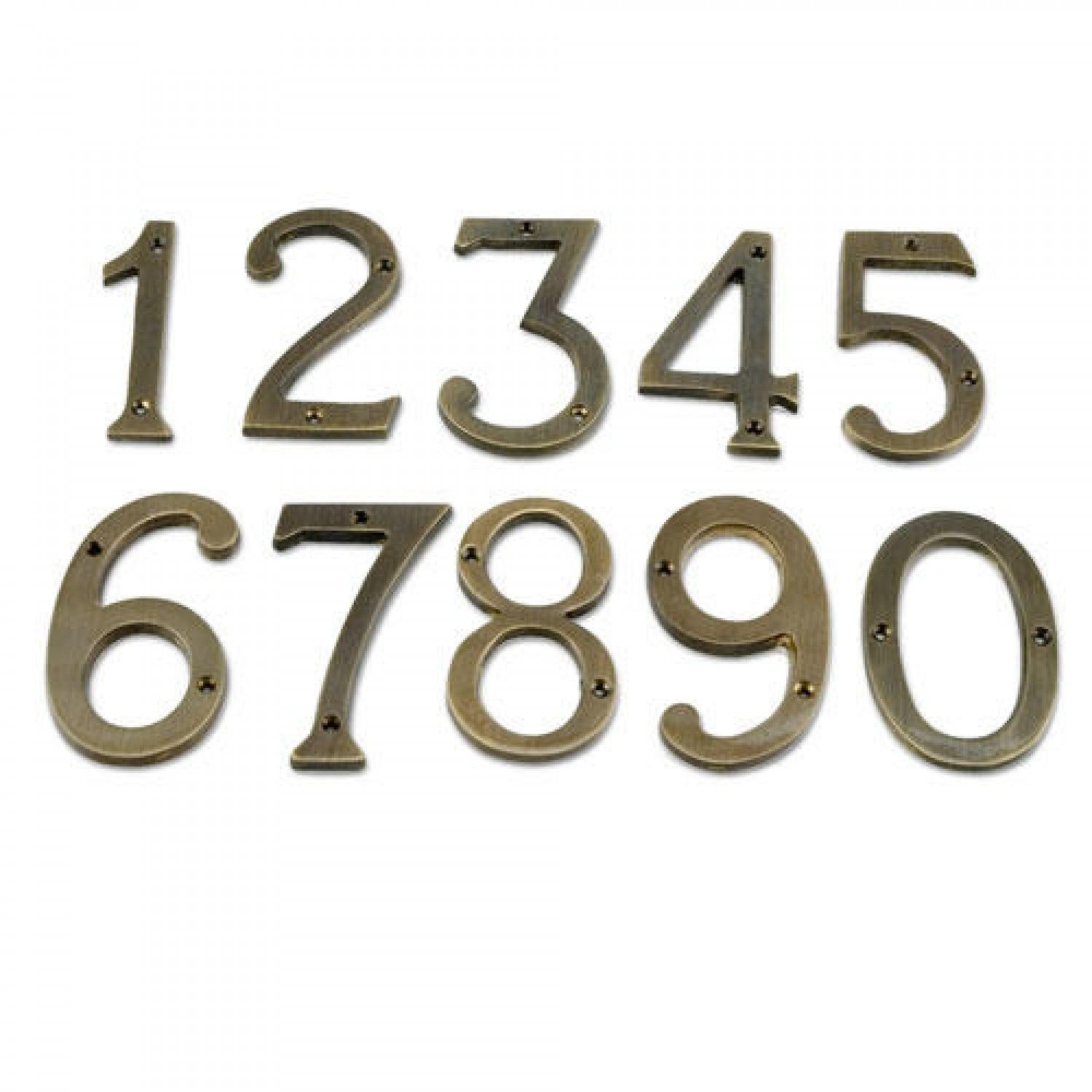 Antique brass traditional house numbers