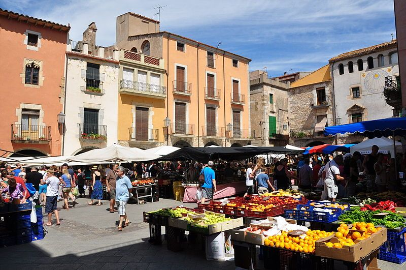 Mercado en la plaza del pueblo