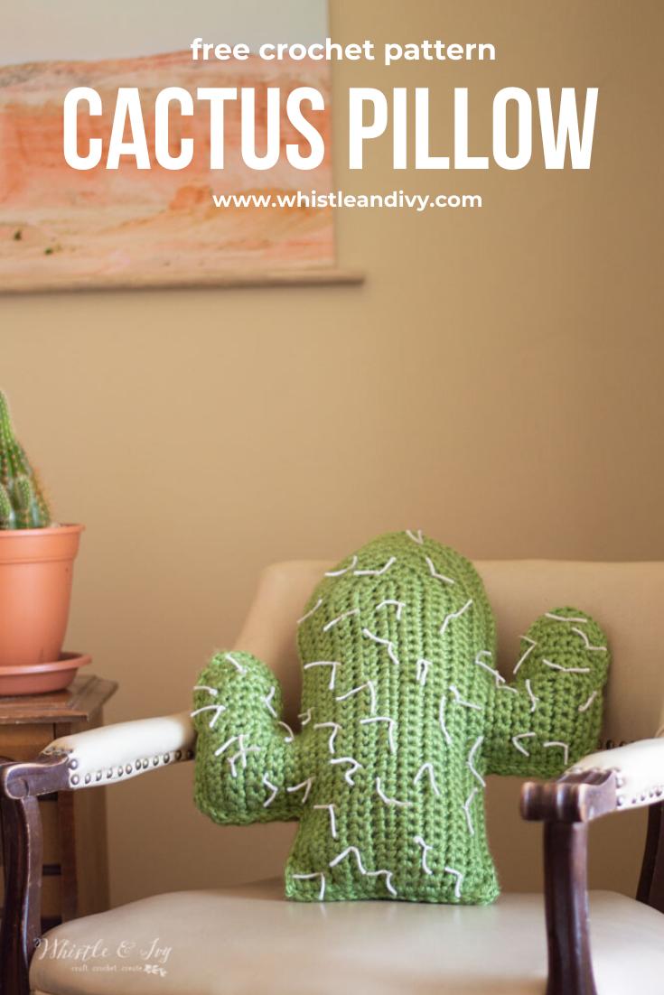 Oreiller Cactus Crochet – Patron Crochet gratuit    – Handarbeit: schön Stricken&Häkeln