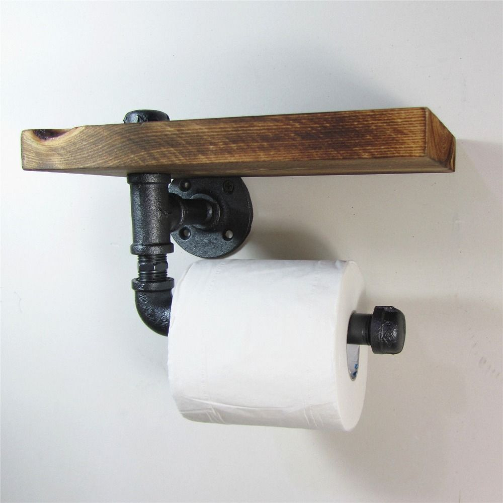 Industrial Style Iron Pipe Toilet Paper Holder Roller With Wood Shelf(China  (Mainland)