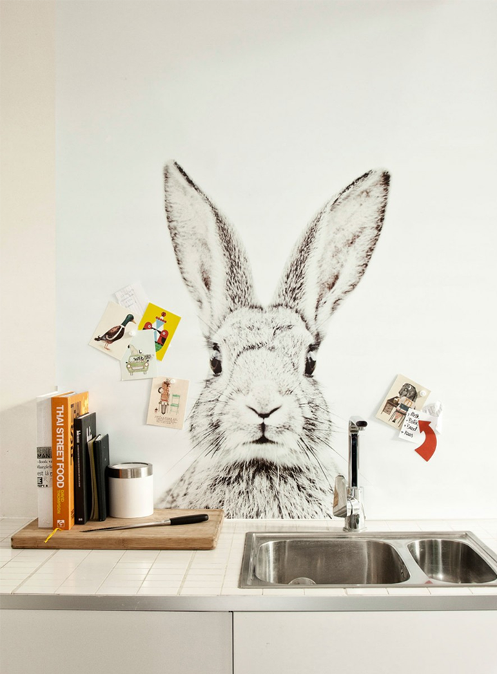Lovely animal wallpapers by groovy mangnets i adore this bunny wallpaper behind my kitchen sink