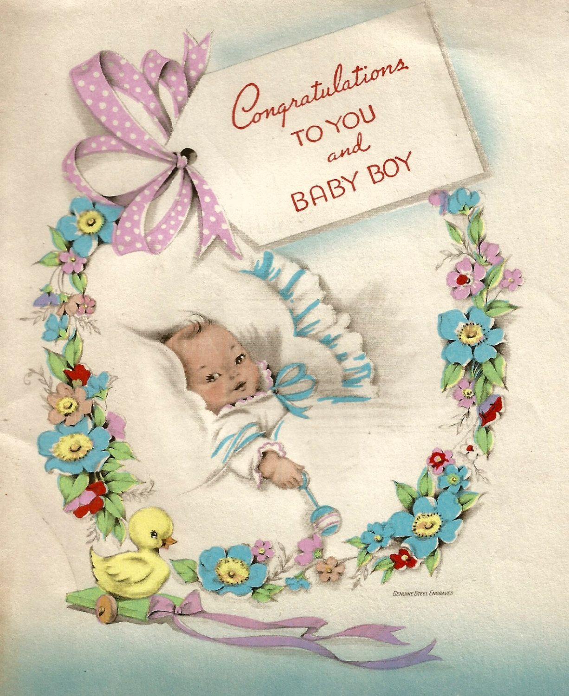 Vintage Baby Boy Congratulations Card Digital Download 300 Dpi