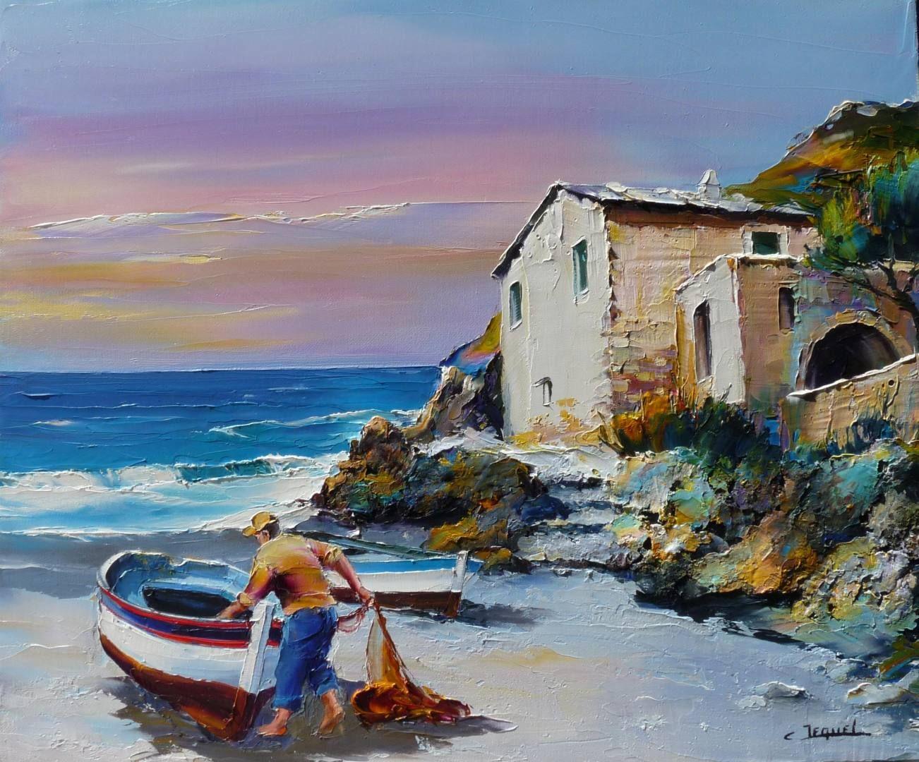 C Jequel Bord De Mer En Corse Fishermen At Sea Painting