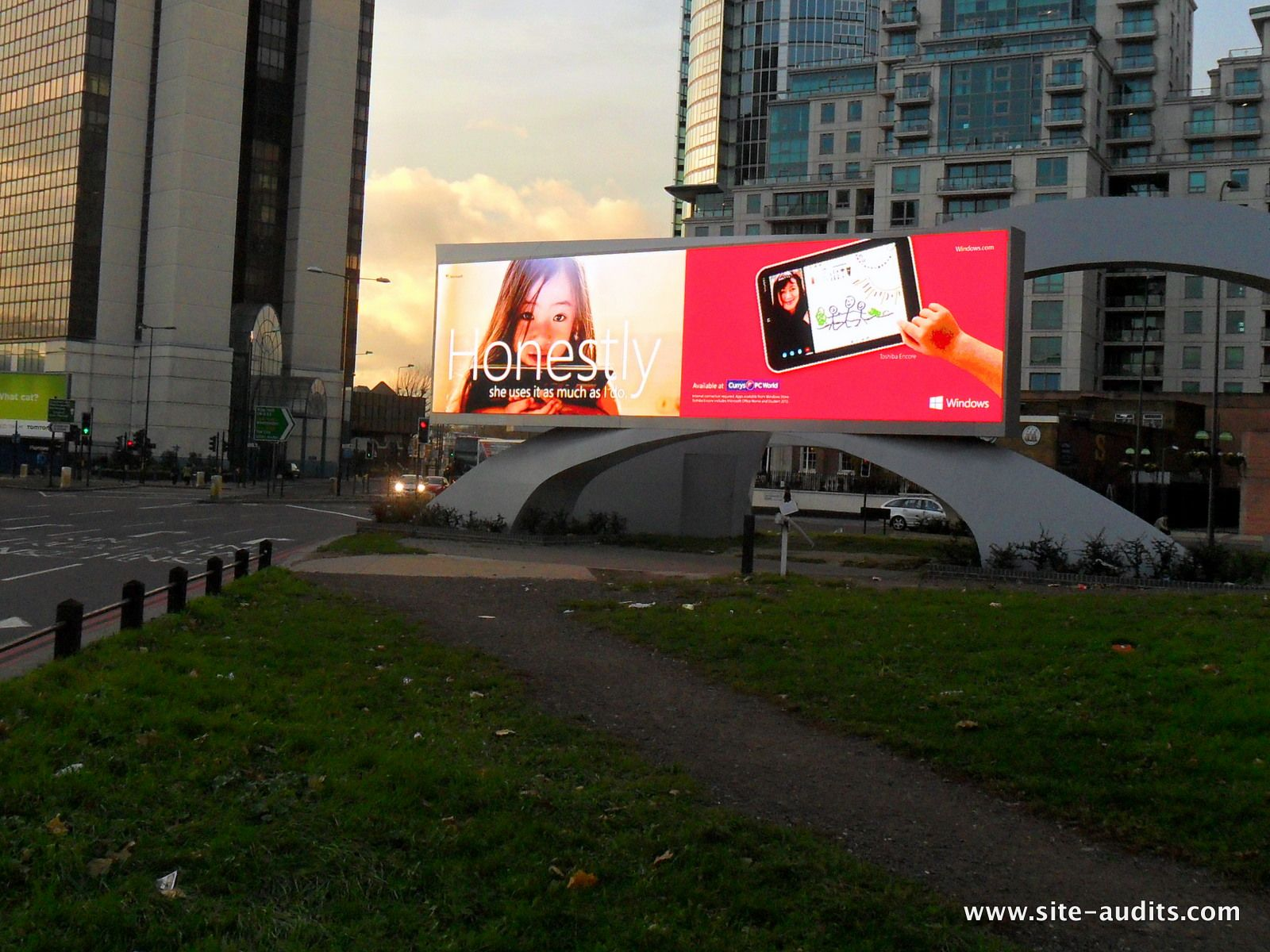 Christmas gift ideas (e.g. tablets) available at PC World and Currys, here seen at Outdoor Plus' iconic digital installation.