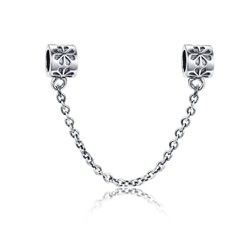 Flowers safety chain charm 925 sterling silver fit all