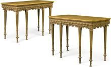 A PAIR OF GEORGE III CARVED GILTWOOD PIER TABLES IN THE MANNER OF ROBERT ADAM, CIRCA1770 |