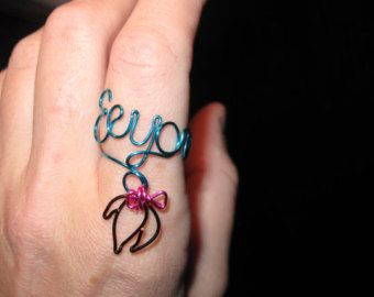 Wire Wrapped EEYORE Spelled MADE to ORDER Ajustable Ring With Eeyore's Tail