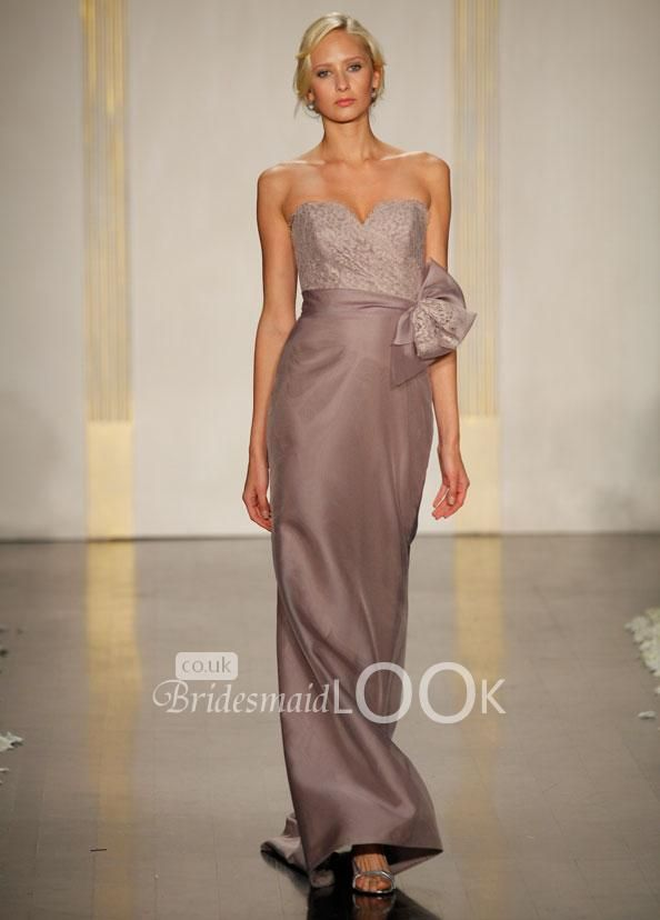 taupe a-line dress strapless sweetheart neckline and lace bodice