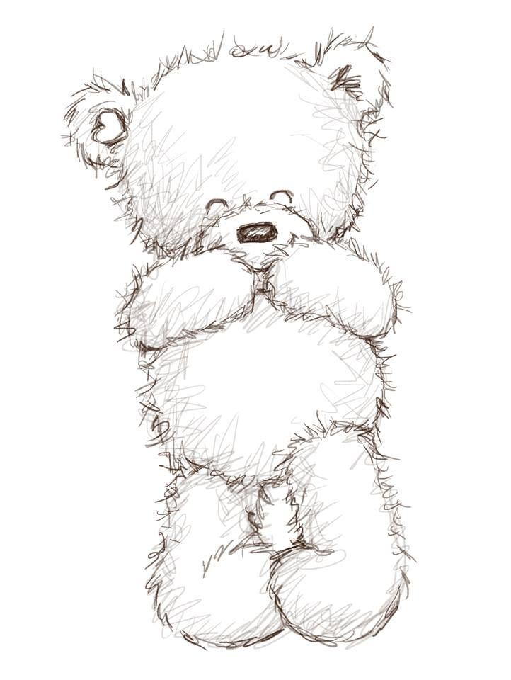 картинки медвежат с сердечками карандашом
