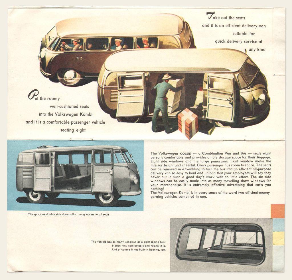 1953 54 Volkswagen Bus Brochure Volkswagen Bus Volkswagen Vintage Vw Bus