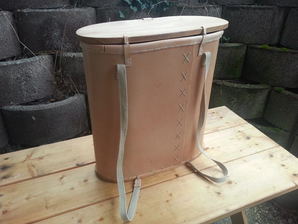 Gokstad backpack made from veg tan leather - back view. Lowri Jensen ...