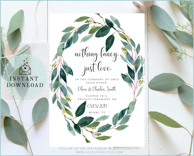 Elopement Announcement Modern Wedding Elope Card