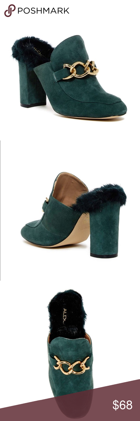 cf3d29030ec Aldo Umarella Faux Fur Lined Loafer Mule 8 New New with box Forest green  color Super cute SR(13) Aldo Shoes Mules   Clogs