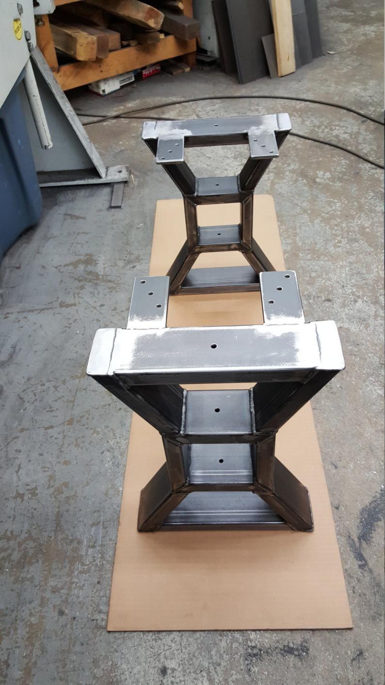 Set Of 2 Modern Bench X Legs Model Tbs09b Heavy Etsy Modern Bench Metal Table Legs Bench Legs