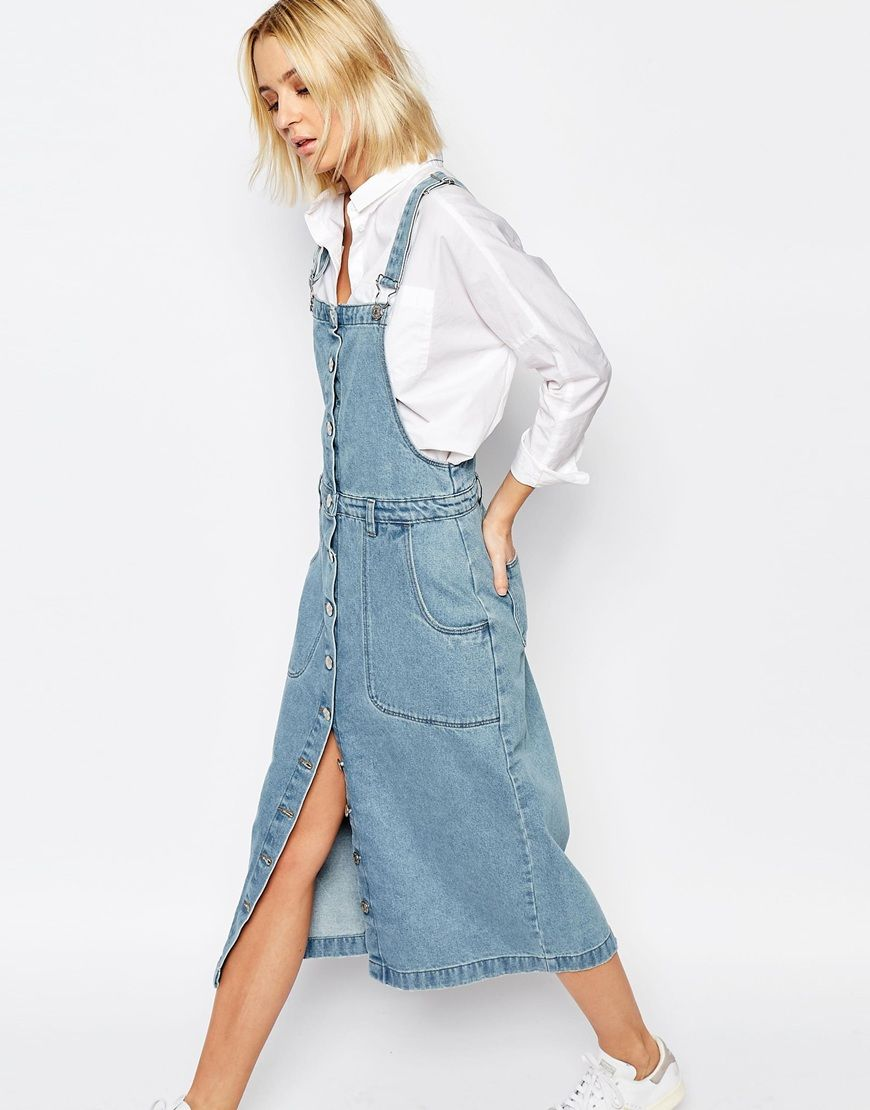 ADPT Denim Overall Dress With Button Front at asos.com