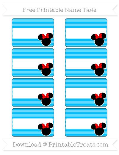 Free Deep Sky Blue Horizontal Striped  Minnie Mouse Name Tags