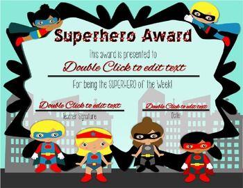 superhero of the week certificate editable superhero