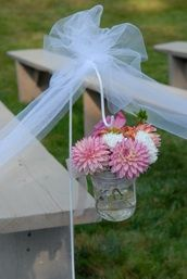 simple DIY aisle decorations - vases with dahlias on shepherds hooks