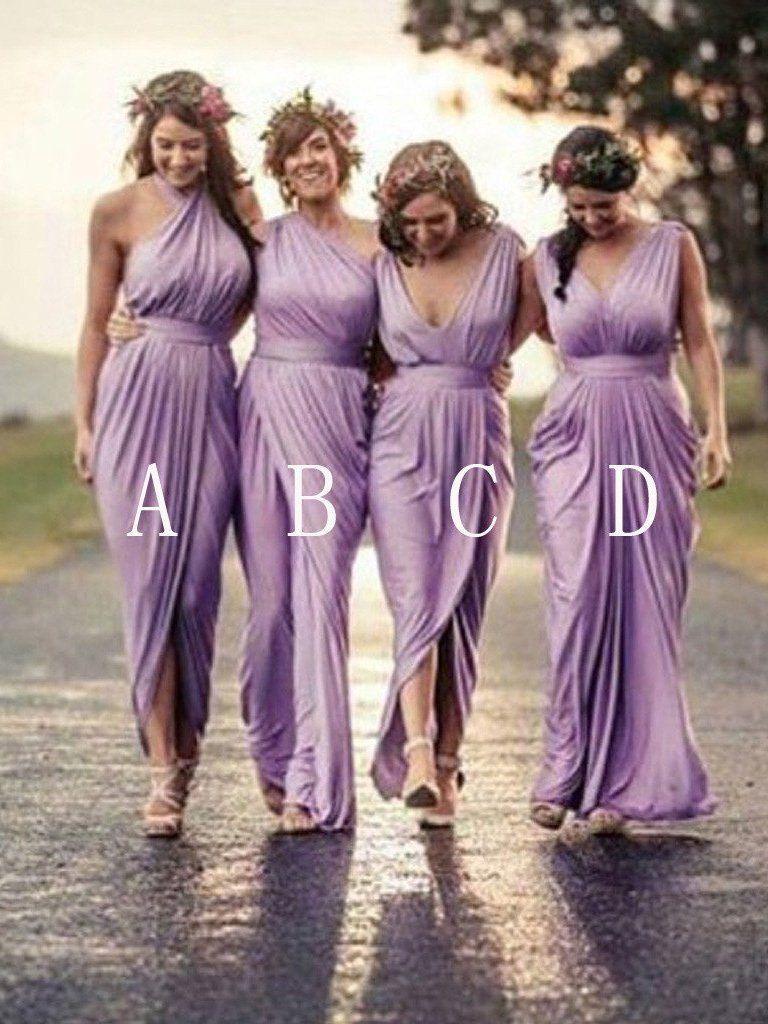 Long Bridesmaid Dresses Sheath/Column Sexy Lilac Bridesmaid Dresses ...