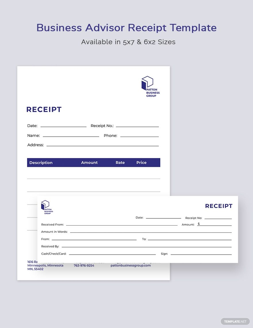 Business Advisor Receipt Template Illustrator Indesign Word Apple Pages Psd Publisher Business Advisor Receipt Template Advisor