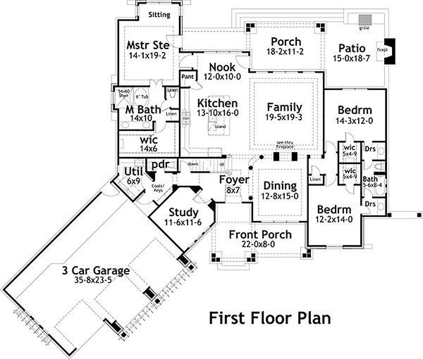Craftsman Style House Plan - 3 Beds 25 Baths 2495 Sq/Ft Plan #120