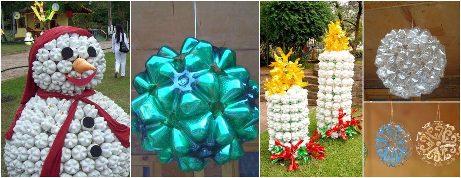 Haz 9 adornos navideños gigantes reciclando botellas de plástico