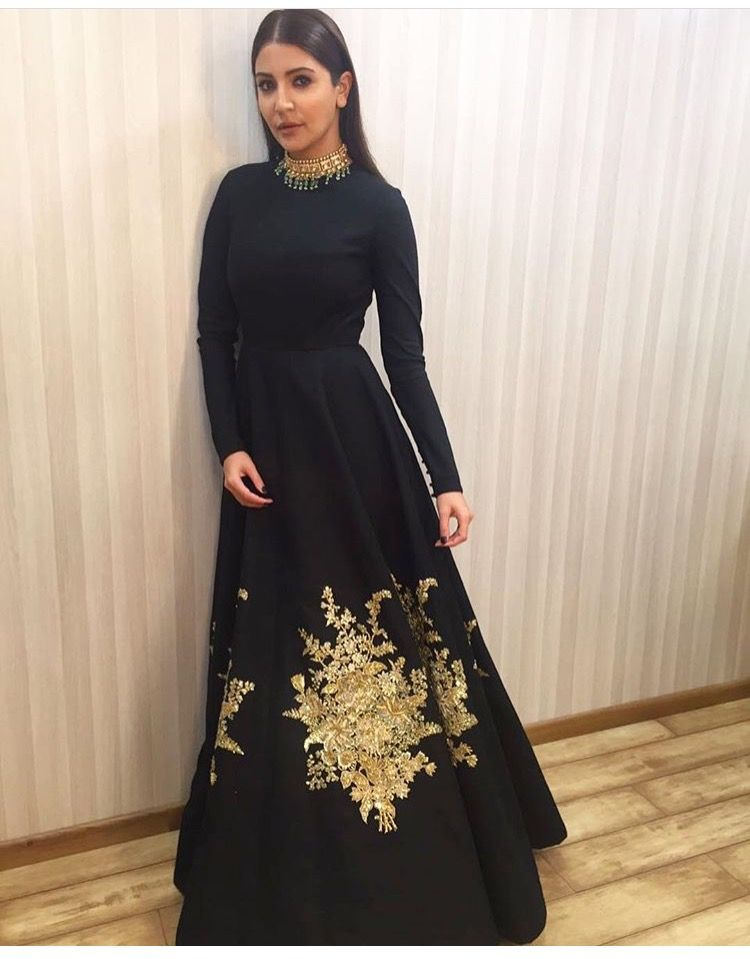 9da72bbb5ce04 Anushka Sharma # black gown # hand work #   Indian   Indian gowns ...