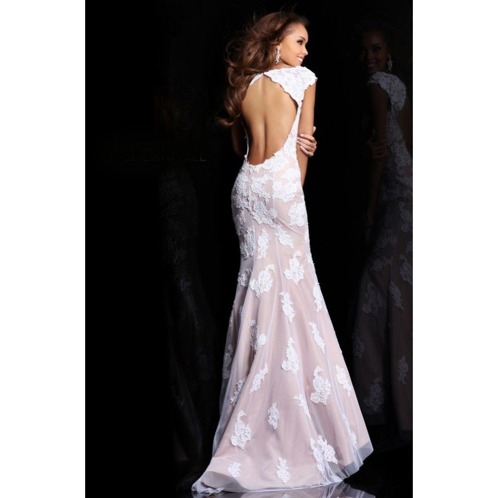 White Prom Dress That's Long | Dropped Jewel Beading Lace Tulle ...