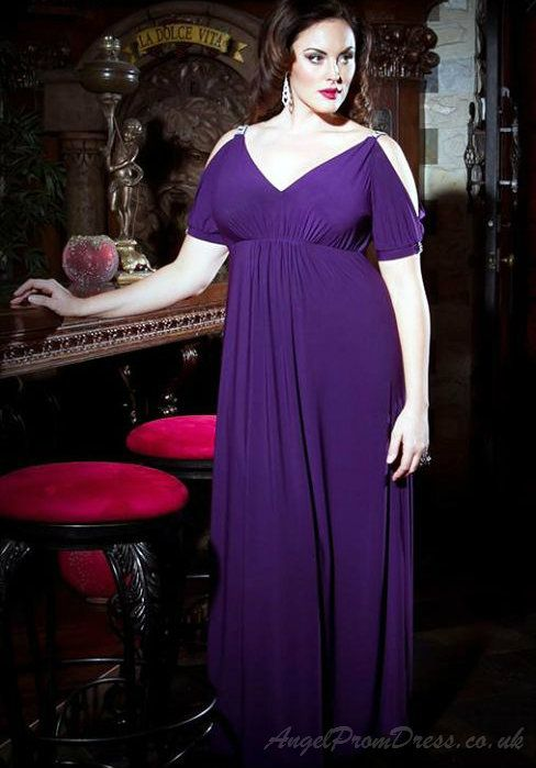 Purple Plus Size Gowns with Sleeves