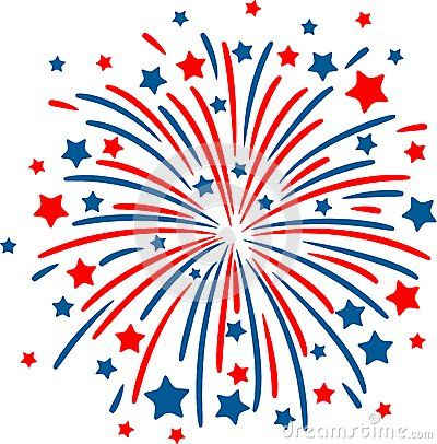 Firework red white blue. Black and fireworks clipart